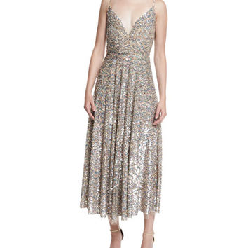 Valentino Sequined Wrap-Bodice Slip Dress, Praline