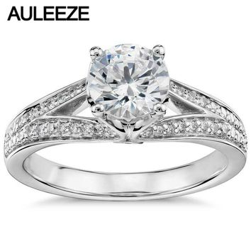 14KT White Gold 1 Carat Moissanite Eternal Pave Split Shank Lab Grown Diamond Ring