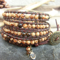 Very Fall - Handmade Leather Wrap Bracelet in Fall Autumn Earth Ethnic Browns - by Off on a Whim - made in Japan
