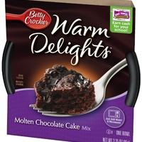 Betty Crocker Warm Delights, Molten Chocolate Cake, 3.35-Ounce Bowls (Pack of 8)