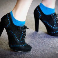 Bumper Exie-01 Black Perforated Lace Up Oxford Bootie - Shoes 4 U Las Vegas