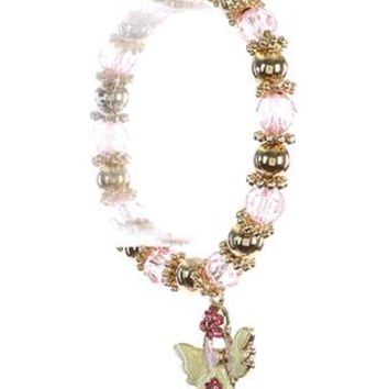 Breast Cancer Awareness Angel Charm Stretch Epoxy Coated Metal Pink Ribbon Braclet