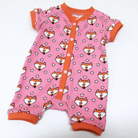 Fox baby clothes, Pink Baby shortalls, Baby Girls Outfit, Baby Romper for Girls, Baby Summer Clothing, Baby Girl, Baby Boy Jumpsuit