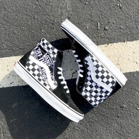 "Vans Sk8-Hi Checker Patch ""Off The Wall"" Black/White Unisex Hightop Sneakers"