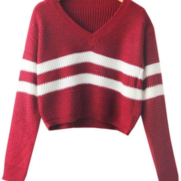 Wine Red V Neck Striped Long Sleeve Cropped Knit Sweater
