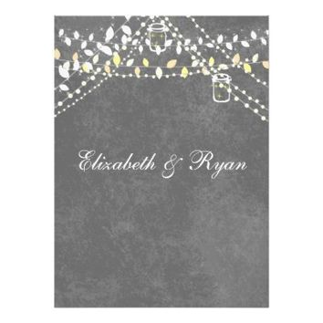 Rustic Gray with String Lights Wedding Invitation