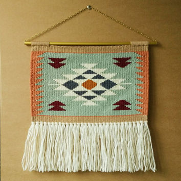 EXTRA LARGE Hand Woven Navajo Weaving and Macrame Wall Hanging (vintage rug)