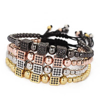Men 24K Gold Plated Round Beads Micro Pave Black CZ Beads Cube Dice Braiding Charm Bracelets