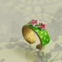green polka dot ring with tiny pink cherry blossoms, giftbox included