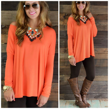 Galloway Burnt Orange Long Sleeve Piko Top