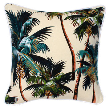 Natural Palms Cushion . White piping . 45cm / 18""