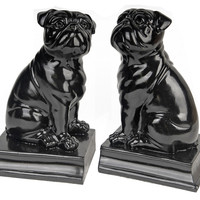 Pug Bookends, Black, Set of 2, Bookends