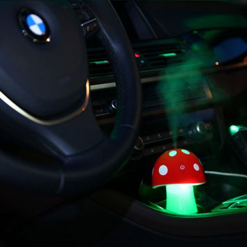 Mushroom Mini USB Humidifier Purifier with LED Light for Office Home Car