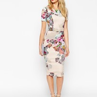 ASOS Floral Print Scuba Body-Conscious Dress