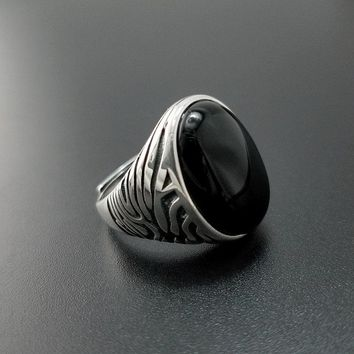 Solid Silver 925 Natural Black Onyx Stone Rings Men Large Wide Cuff Band 100% Real 925 Sterling Silver Vintage Male Jewelry Gift