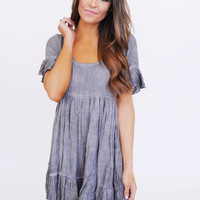 Ruffle Scoop Neck Dress- Grey