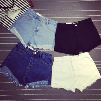 Oversized High Waisted Denim Shorts for Women
