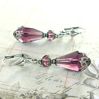 Amethyst Purple Victorian Teardrop Earrings - Czech Glass Earrings - Antique Silver Filigree Amethyst Victorian Inspired Jewelry