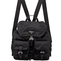Vela Large Two-Pocket Backpack, Black (Nero) - Prada