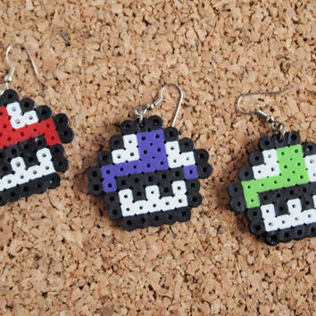 Mario Mushroom Earrings - perler fusible hanna bead geekery nerd swag jewelry kids FREE Shipping to USA