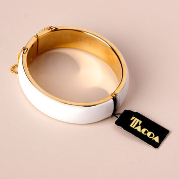 Vintage Tacoa White Enamel and Gold Tone Clamper Bracelet