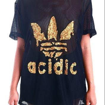 SWEET LORD O'MIGHTY! ACIDIC GOLD SEQUIN MESH TEE