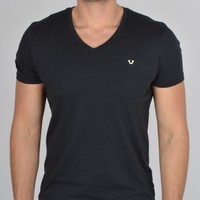 TRUE RELIGIONLOGO V NECK T-SHIRT - BLACK