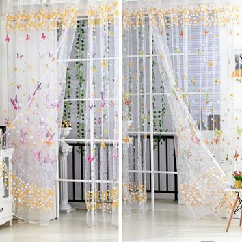 100cm*200cm New Butterfly Printed Tulle Voile Door Window Balcony Sheer Panel Screen Curtain