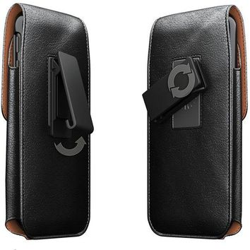 VONEF3L iPhone X Belt Case, Apple iPhone X Case with Belt Clip, Swivel Belt Clip Leather Pouch Cell Phone Holster Holder for iPhone X, Fits iPhone X with Thin Protective Cover on - Black