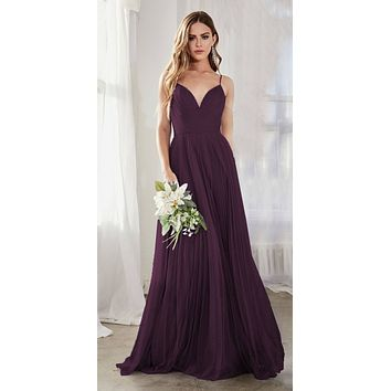 Long A-Line Tulle Dress Eggplant Gathered Sweetheart Neckline Pleated Finish