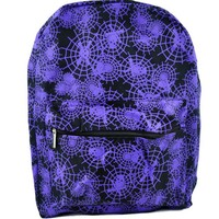 Purple Spider Web Black Backpack School Bag