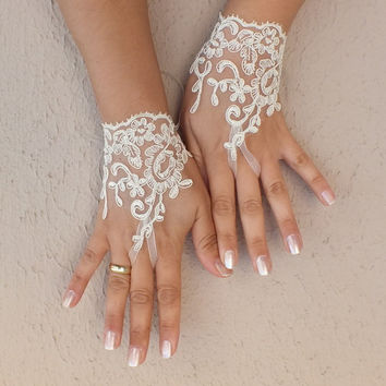 cream yellow lace glove gloves free ship cuff fingerless lace gauntlets bridesmaid french lace cream yellow