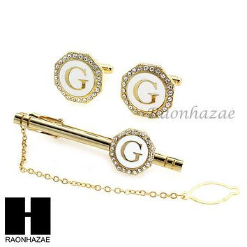MENS 14K GOLD TONE INITIAL G AS IN GEORGE CUFFLINKS TIE PIN GIFT BOX02