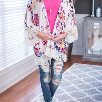 White Floral Tassel Fringe Cardigan Boho Beach Kimono Cover Up Casual Cardigan Coat