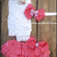 "Flower Leg Warmers, Diaper Cover and Headband Set "" Shabby Rose"" For Newborn, baby girl and toddler girls Valentines Day"