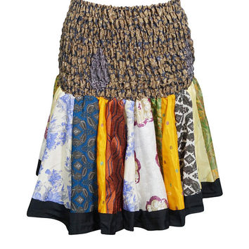 Party Cocktail Mini Skirt Recycled Sari Ruched Waist Ladies Summer Skater Skirt for Women