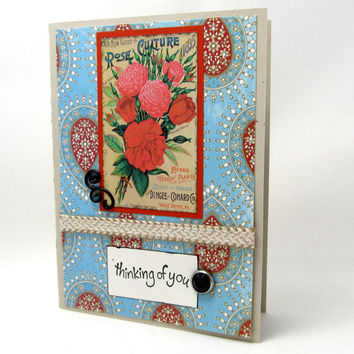 Red Roses Thinking of You - Vibrant Color - Blank Card - Vintage Detail - Vintage Roses - Hand Stamped -  Black Accents - Burlap Ribbon