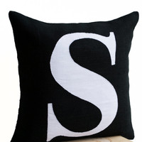 Personalized Monogram throw pillow- Burlap pillows- Black White monogram cushion -applique -initial pillow -Decorative throw pillows- 16x16
