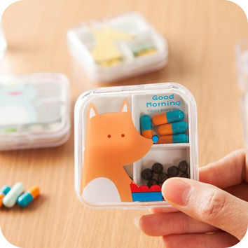 2 Sizes (4/6 Grid) Portable Mini Cartoon Plastic Pill Box