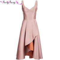 2017 New Blush Satin Short Cocktail Dresses High Low Vestido Curto Prom Party Gowns Sweet School Girls Homecoming Gowns ZX095
