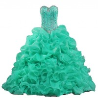 Y&C Women's Sweetheart Ball Gown Beads Ruffled Quinceanera Dress