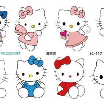 EC117 New 2016 Colorful Emotion Candy Color Girl Hello Kitty Temporary Tattoo Sticker Body Art Water Transfer Fake Flash Taty