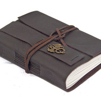 Dark Brown Leather Wrap Journal with Dragon Bookmark - Ready to ship