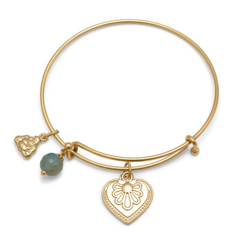 Expandable Gold Tone Buddha Charm Fashion Bangle Bracelet