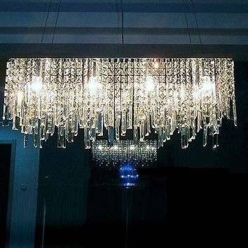 Modern Minimalist Rectangular Crystal Chandelier Lamp Lighting, L 70CMxW 16CM
