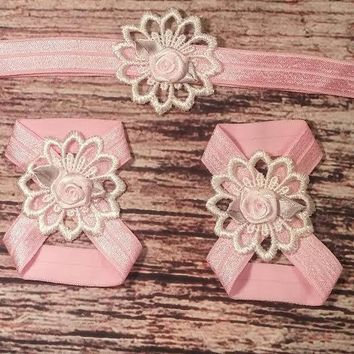 Pink Rose and Lace Baby Girl Headband and Barefoot Sandals!