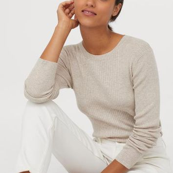 Fine-knit Top - Light beige melange - Ladies | H&M US