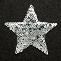 "Star Shape Sequin Patch Applique, 2-3/4""D, Blue, Silver, TR-10891"