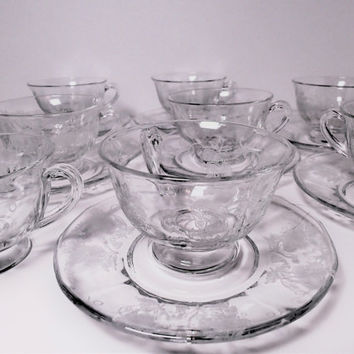 Depression Glass Cup and Saucer set Fostoria Etched Glass 9 sets plus 1 extra cup, etch 309  1930s coffee /tea serving set.