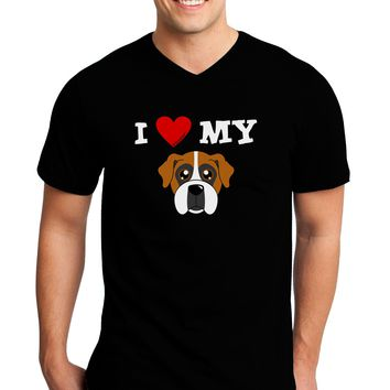 I Heart My - Cute Boxer Dog Adult Dark V-Neck T-Shirt by TooLoud